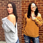 Tan Twisted Back Sweater OS - dalia + jade
