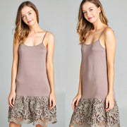 ODDI Brown Scalloped Lace Dress Extender Slip - dalia + jade
