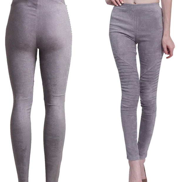 GRAY Faux Suede Moto Leggings - Vegan Motto Pants - dalia + jade
