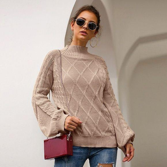 Beige Long Sleeve Mock Turtle Neck Sweater - dalia + jade