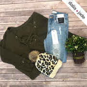 PRE-ORDER - Olive Lace Up V-Neck Tunic Sweater - dalia + jade