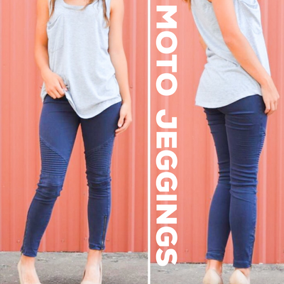 Navy Moto Jeggings with Ankle Zipper - dalia + jade
