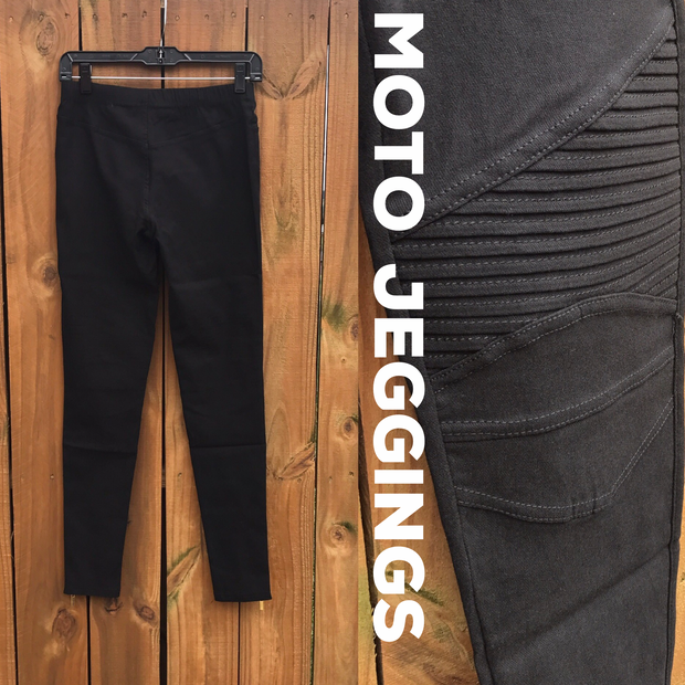 Black Moto Jeggings - Pleated Motto Denim Leggings - dalia + jade