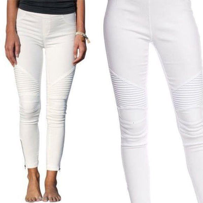 White Moto Jeggings - dalia + jade