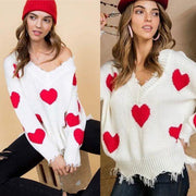 Distressed Frayed Ripped Heart Sweater OS - dalia + jade
