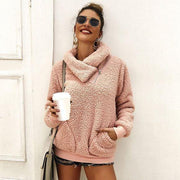 Pink Sherpa Pullover Sweater Pocket Faux Fur 477 - dalia + jade