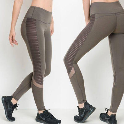 MONO B Brown Moto Yoga Pants - dalia + jade