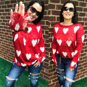 Red Distressed Long Sleeve Heart Sweater 546 - dalia + jade