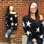 Black Ripped Star Sweater - OS - dalia + jade