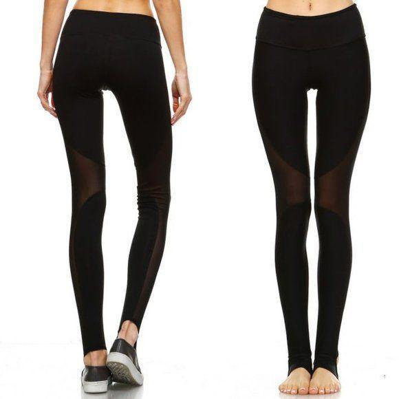 MONO B Black Mesh Yoga Leggings - AP1523 - dalia + jade