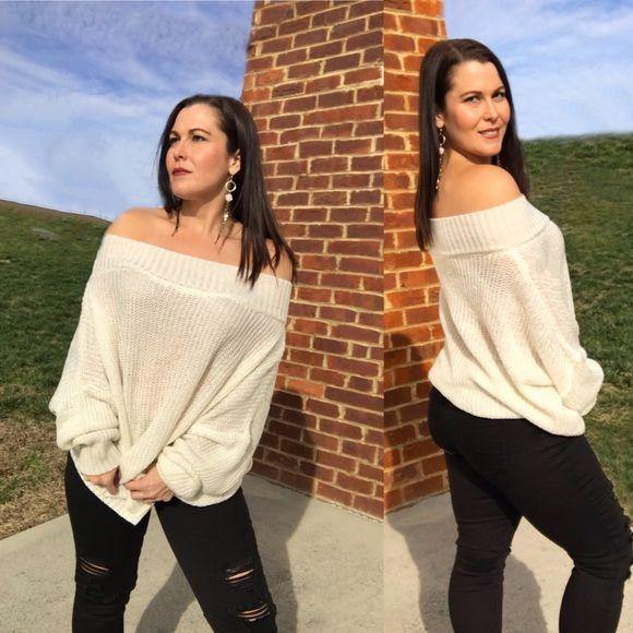 White Off the Shoulder Tunic Sweater - dalia + jade