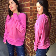 Pink Open Back Pullover Sweater - dalia + jade