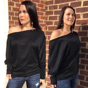 Light Weight Black Off Shoulder Dolman Top - dalia + jade