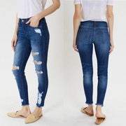 Kancan Dark Wash Distressed Skinny Jeans KC5056LD - dalia + jade