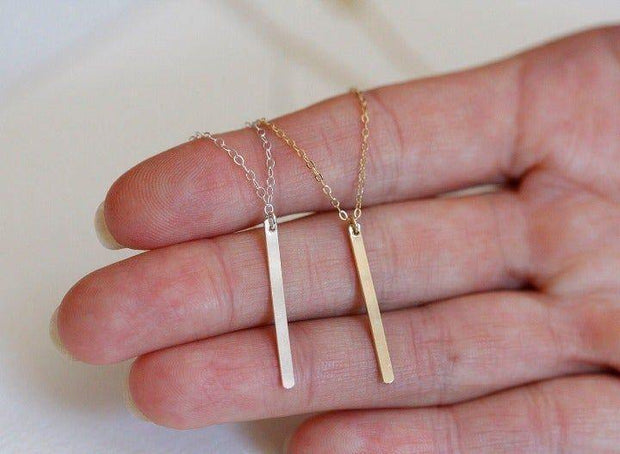 Gold Tone Vertical Bar Necklace - dalia + jade