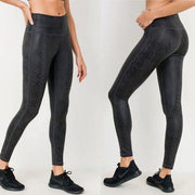 MONO B APH2597 Black Snake Print Yoga Leggings
