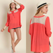 UMGEE Long Sleeve Lace Up Coral Bohemian Top - dalia + jade