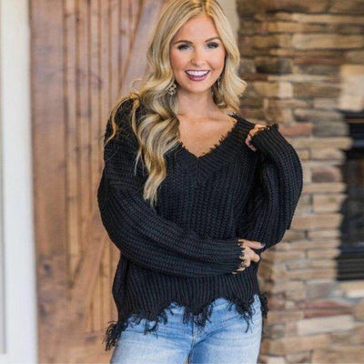 Black Frayed Distressed Sweater OS - dalia + jade