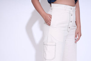 Denim Stitch Natural Pants
