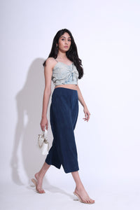 Cracked Line Knot Crop Top with Flared Pants Co-ord Set