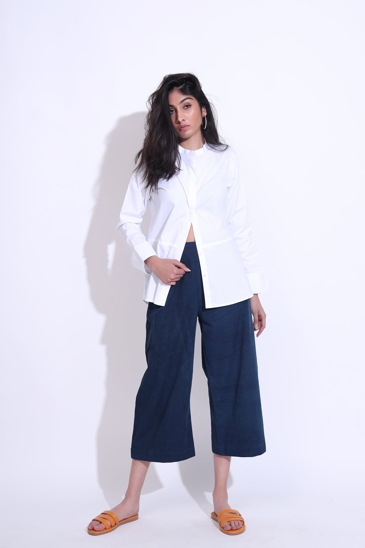 Classic White Shirt with Flared Pants Co-ord Set
