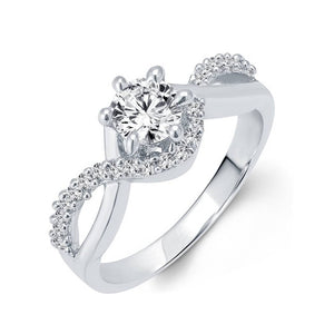 Trendy Design Solitaire (CZ) Rhodium Plated alloy Ring for Women and Girls - [VFJ1032FRR]