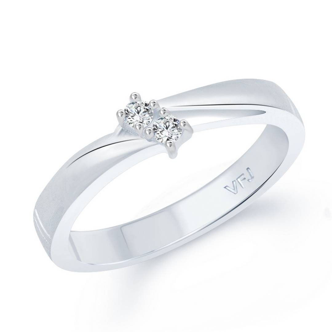 Simply Band (CZ) Rhodium Plated alloy Ring for Women and Girls- [VFJ1035FRR]