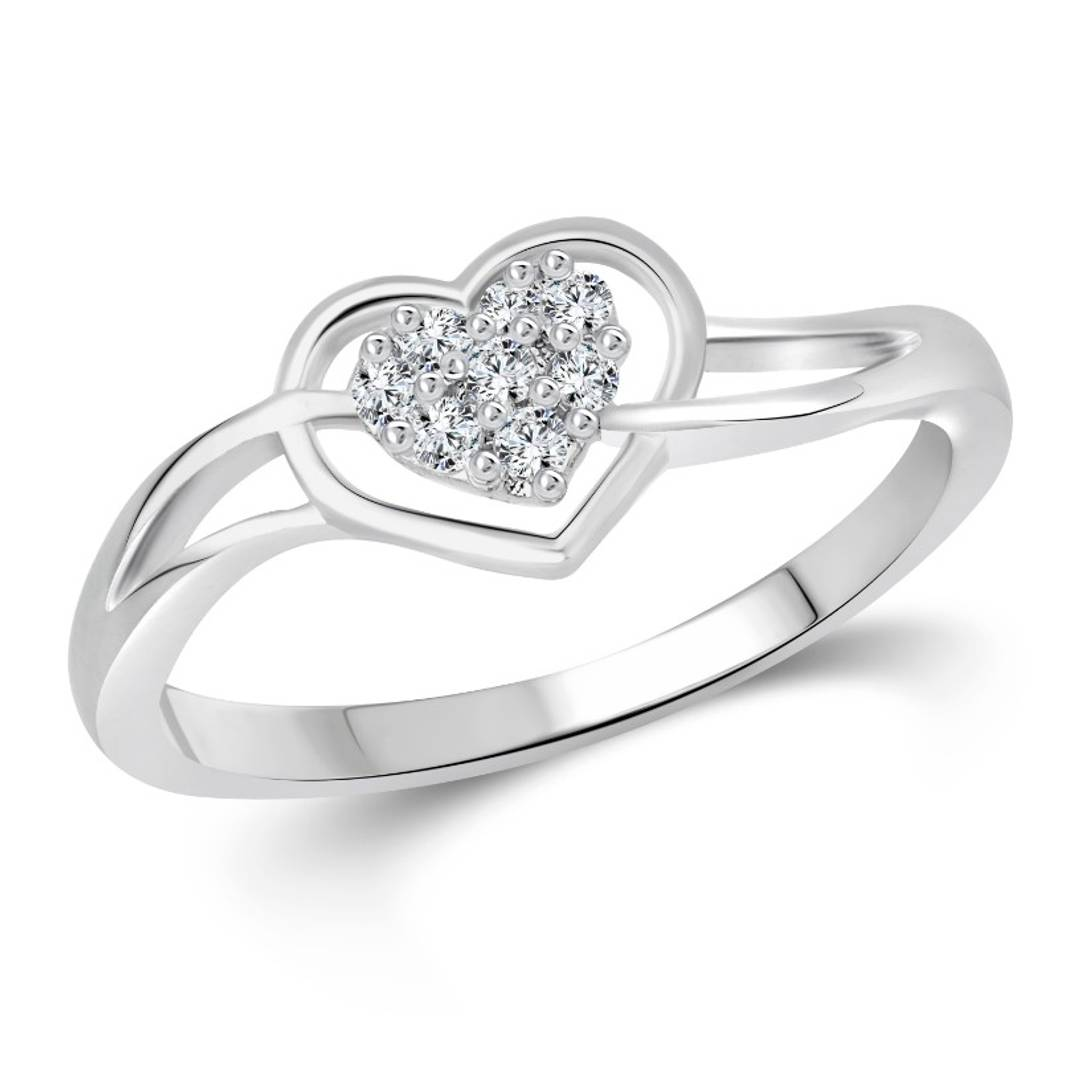 Splendid Heart (CZ) Rhodium Plated alloy Ring for Women and Girls - [VFJ1069FRR]