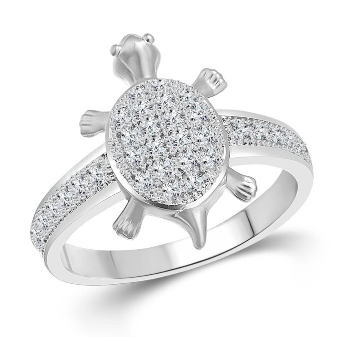 Micro Tortoise CZ Rhodium Plated alloy Ring for Women and Girls - [VFJ1100FRR]