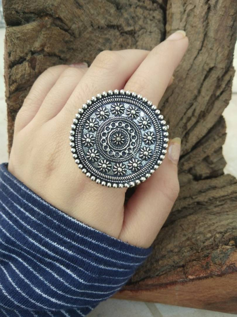 Oxidized Adjustable Silver Metal Rings