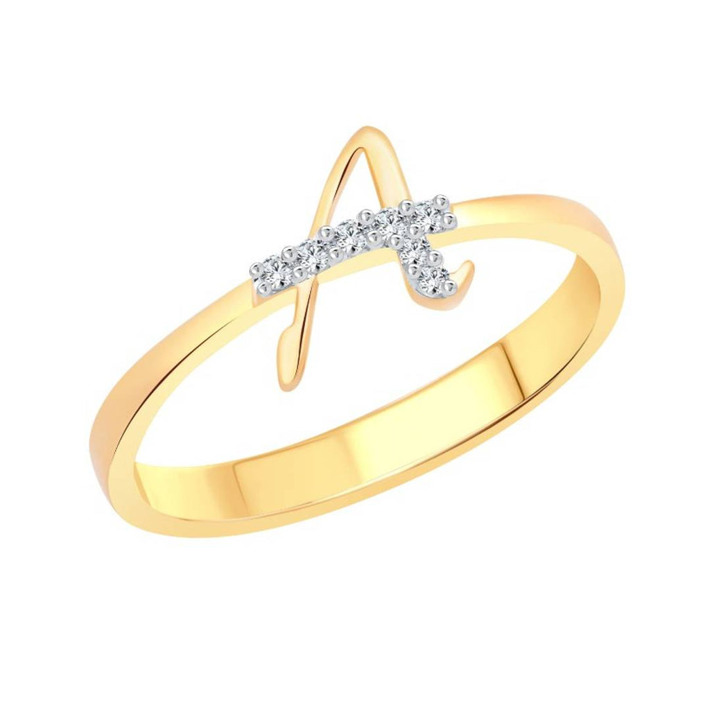 initial ''A'' Letter (CZ) Gold and Rhodium Plated Alloy Ring for Women and Girls