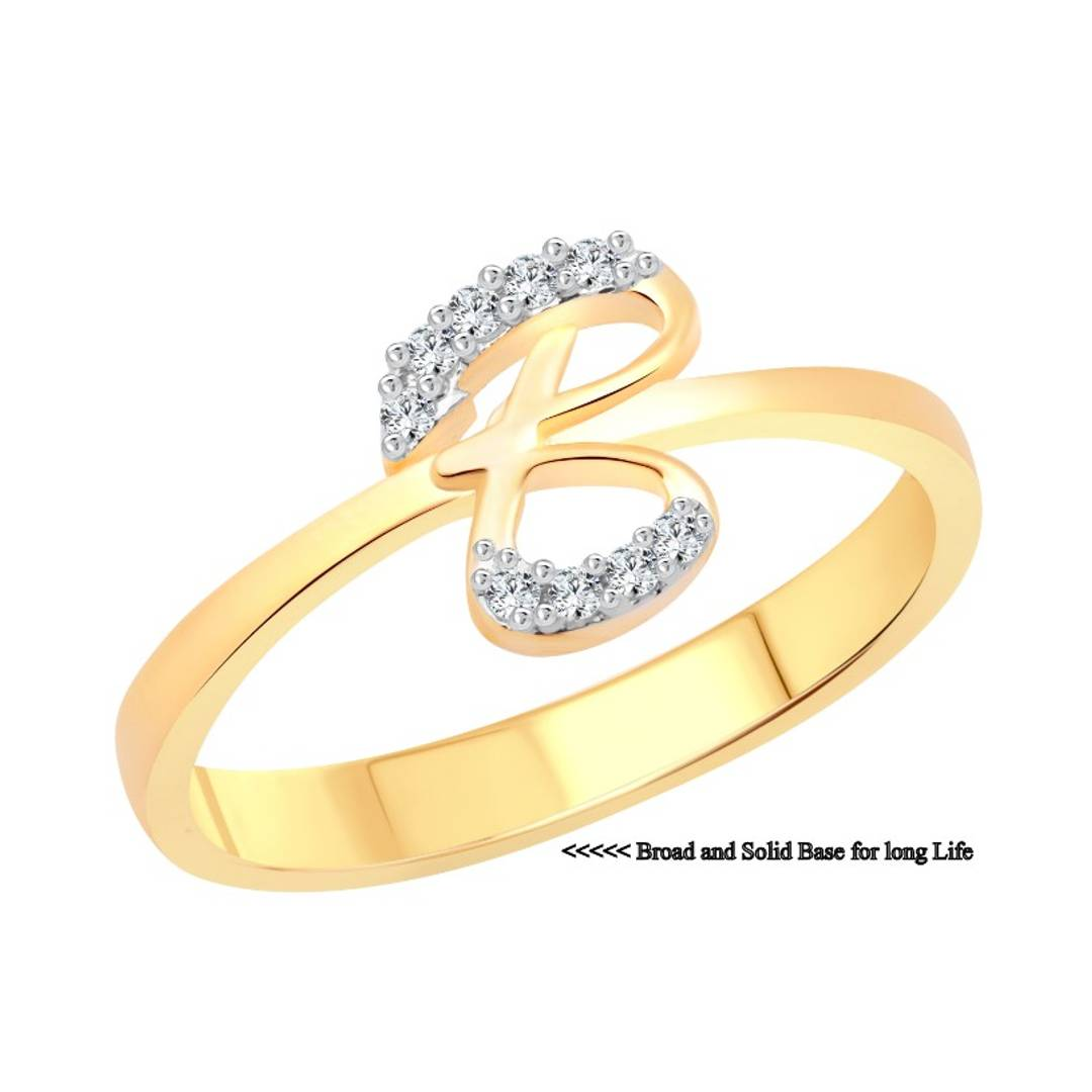 initial ''B'' Letter (CZ) Gold and Rhodium Plated Alloy Ring for Women and Girls