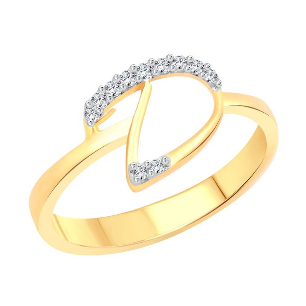 initial ''D'' Letter (CZ) Gold and Rhodium Plated Alloy Ring for Women and Girls