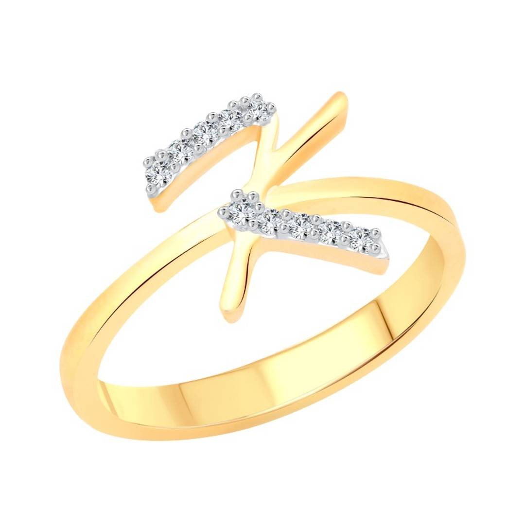 initial ''K'' Letter (CZ) Gold and Rhodium Plated Alloy Ring for Women and Girls