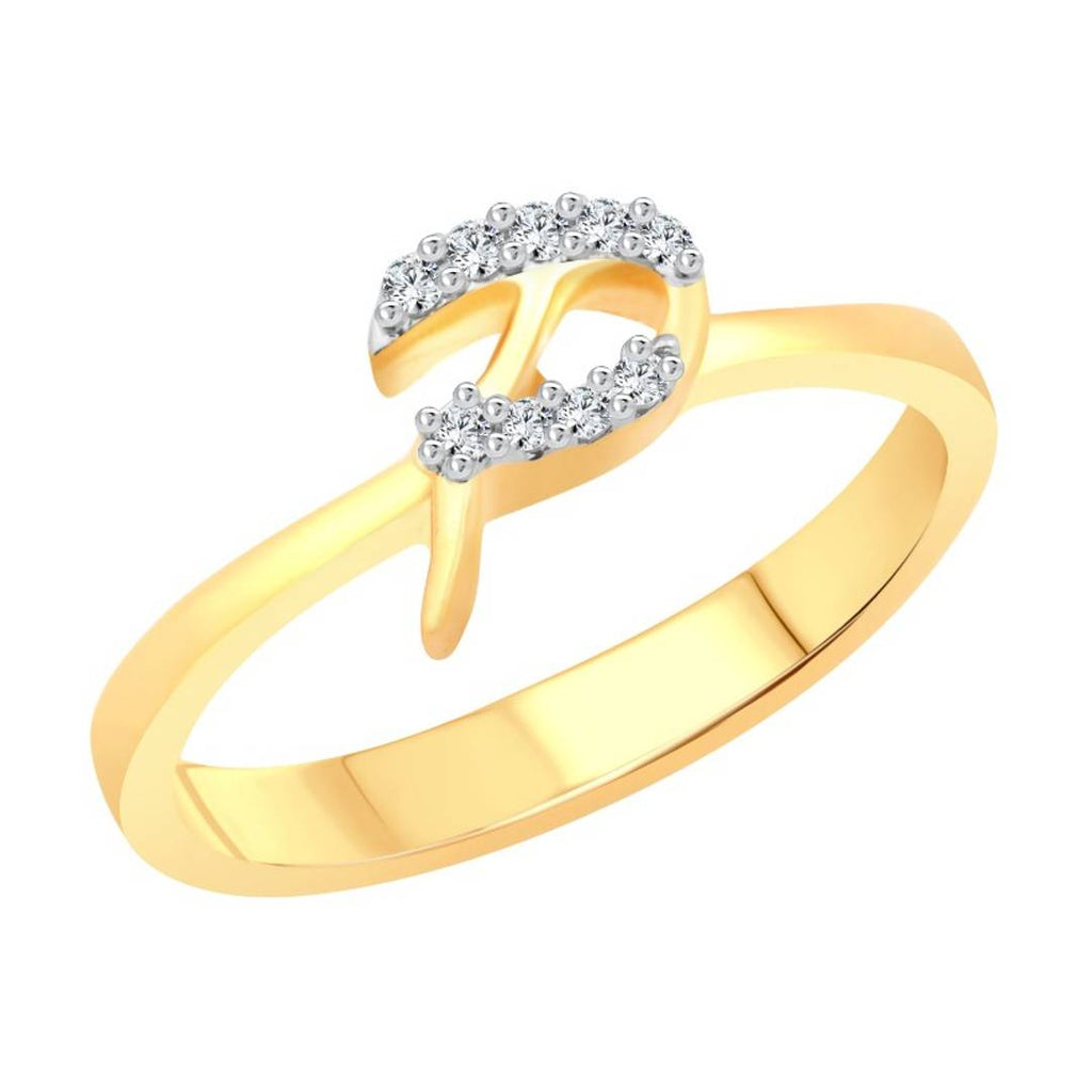 initial ''P'' Letter (CZ) Gold and Rhodium Plated Alloy Ring for Women and Girls