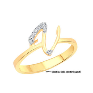initial ''V'' Letter (CZ) Gold and Rhodium Plated Alloy Ring for Women and Girls