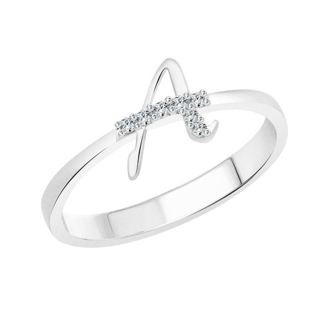 initial ''A'' Alphabet (CZ) Silver and Rhodium Plated Alloy Ring for Women and Girls