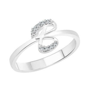 initial ''B'' Alphabet (CZ) Silver and Rhodium Plated Alloy Ring for Women and Girls