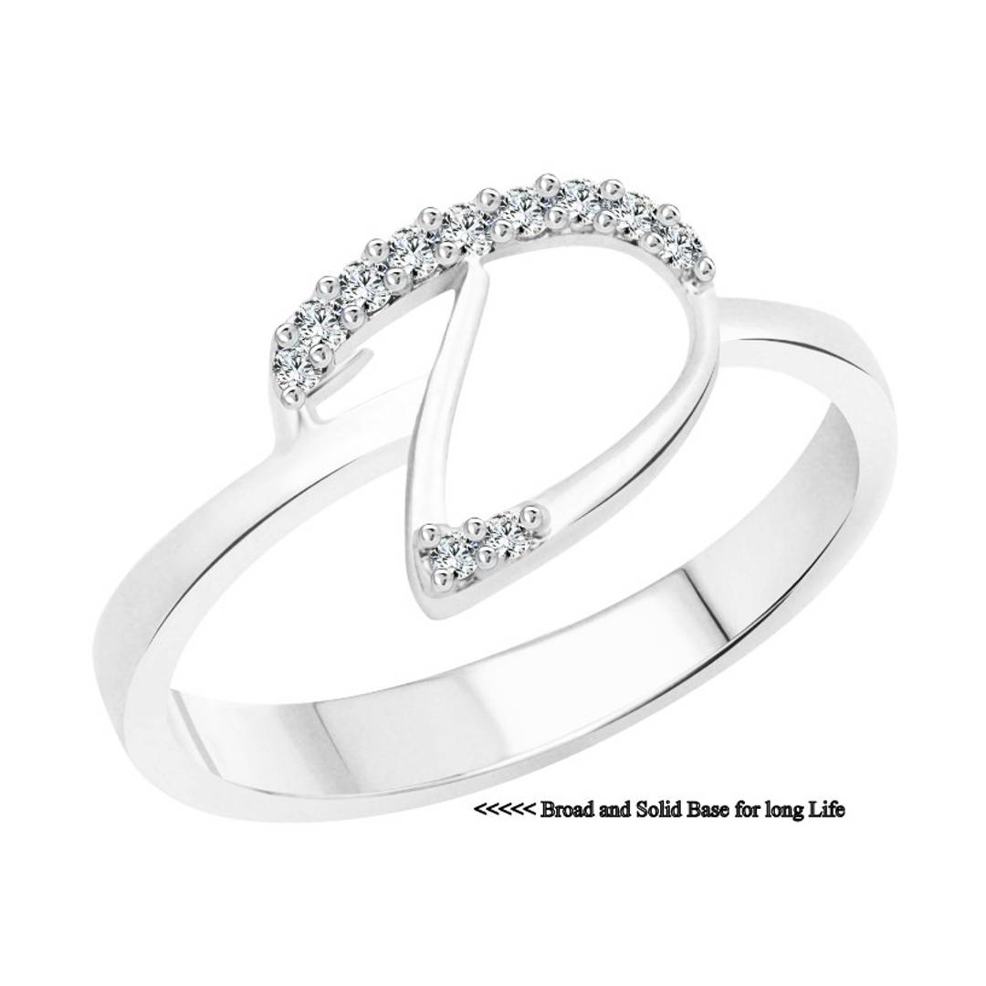initial ''D'' Alphabet (CZ) Silver and Rhodium Plated Alloy Ring for Women and Girls