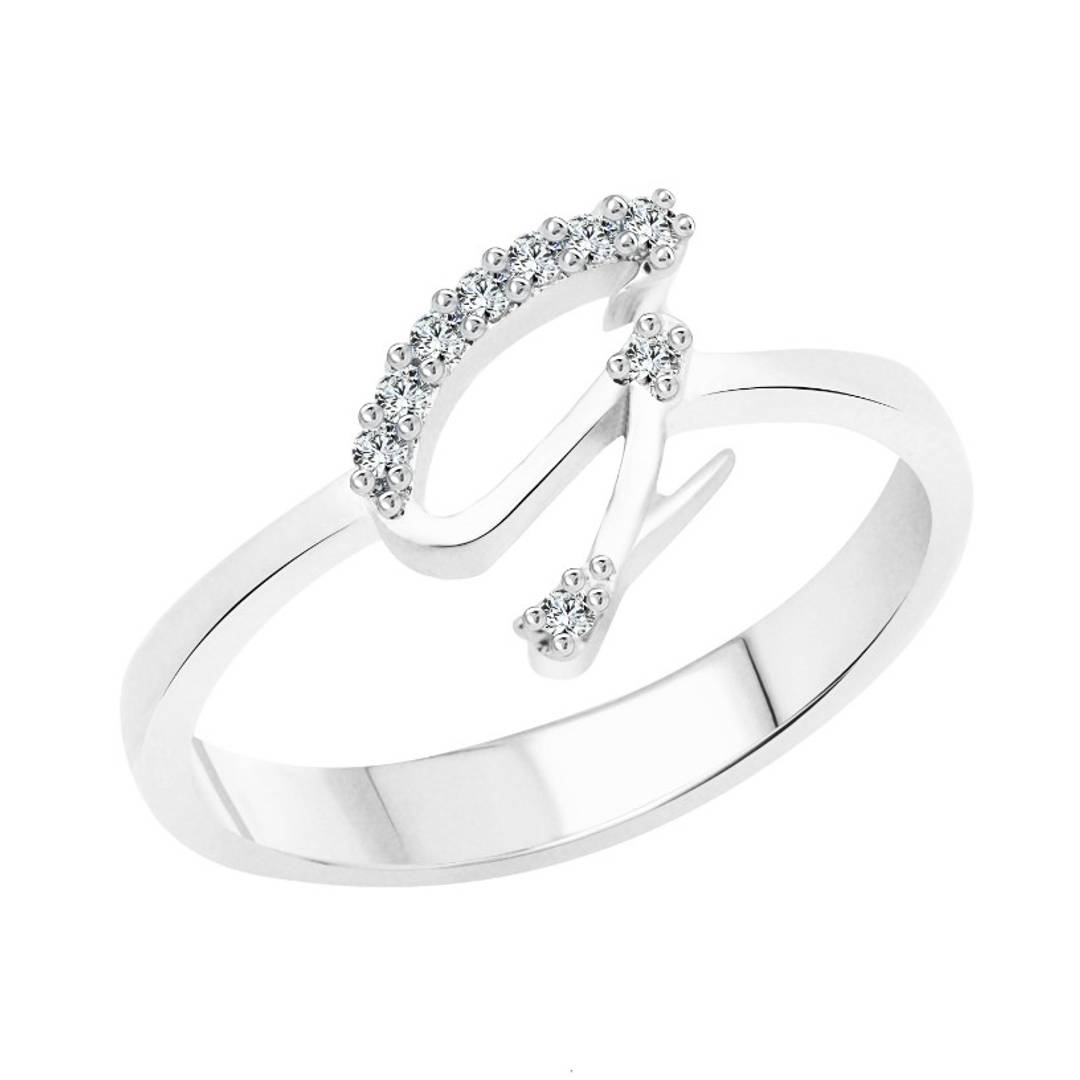 initial ''G'' Alphabet (CZ) Silver and Rhodium Plated Alloy Ring for Women and Girls