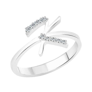 initial ''K'' Alphabet (CZ) Silver and Rhodium Plated Alloy Ring for Women and Girls