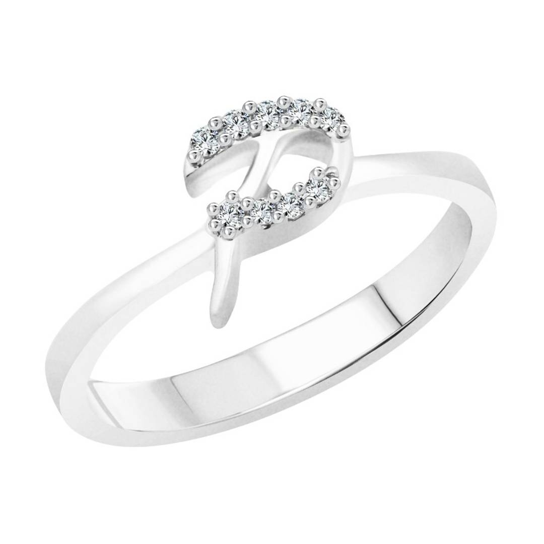 initial ''P'' Alphabet (CZ) Silver and Rhodium Plated Alloy Ring for Women and Girls