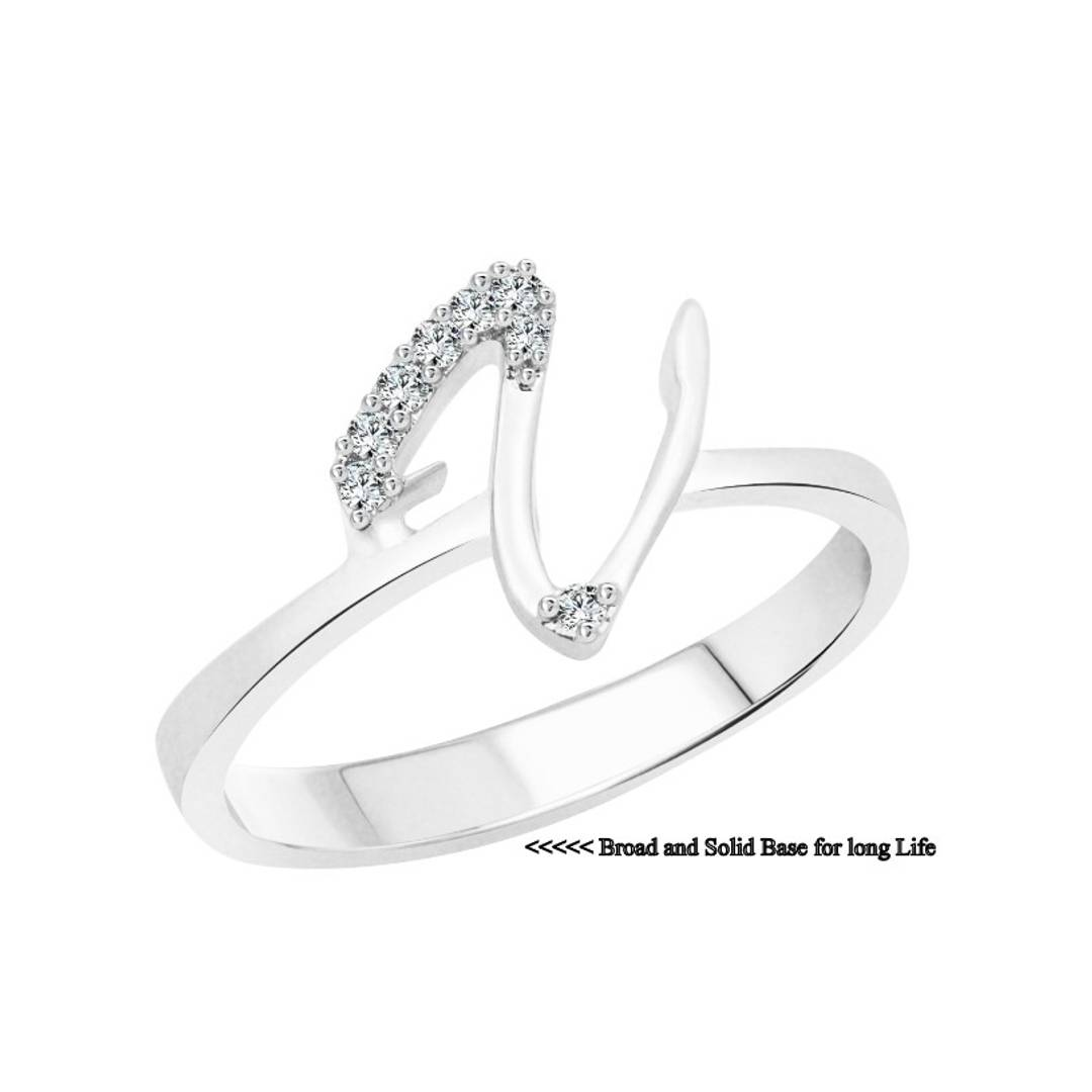 initial ''V'' Alphabet (CZ) Silver and Rhodium Plated Alloy Ring for Women and Girls