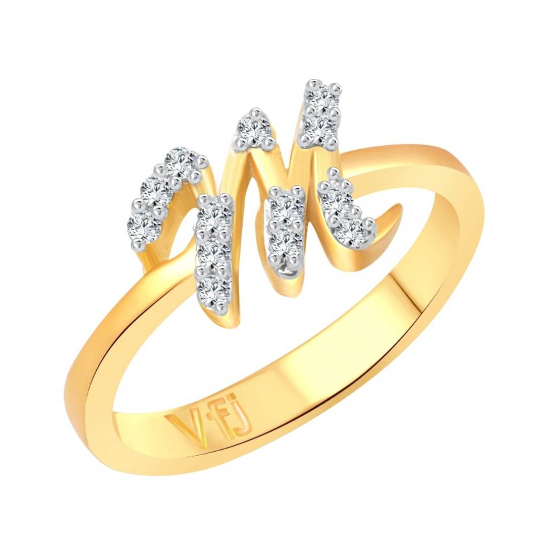 initial ''M'' Letter (CZ) Gold and Rhodium Plated Alloy Ring for Women and Girls