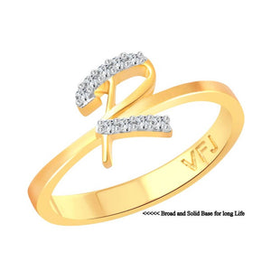 initial ''R'' Letter (CZ) Gold and Rhodium Plated Alloy Ring for Women and Girls