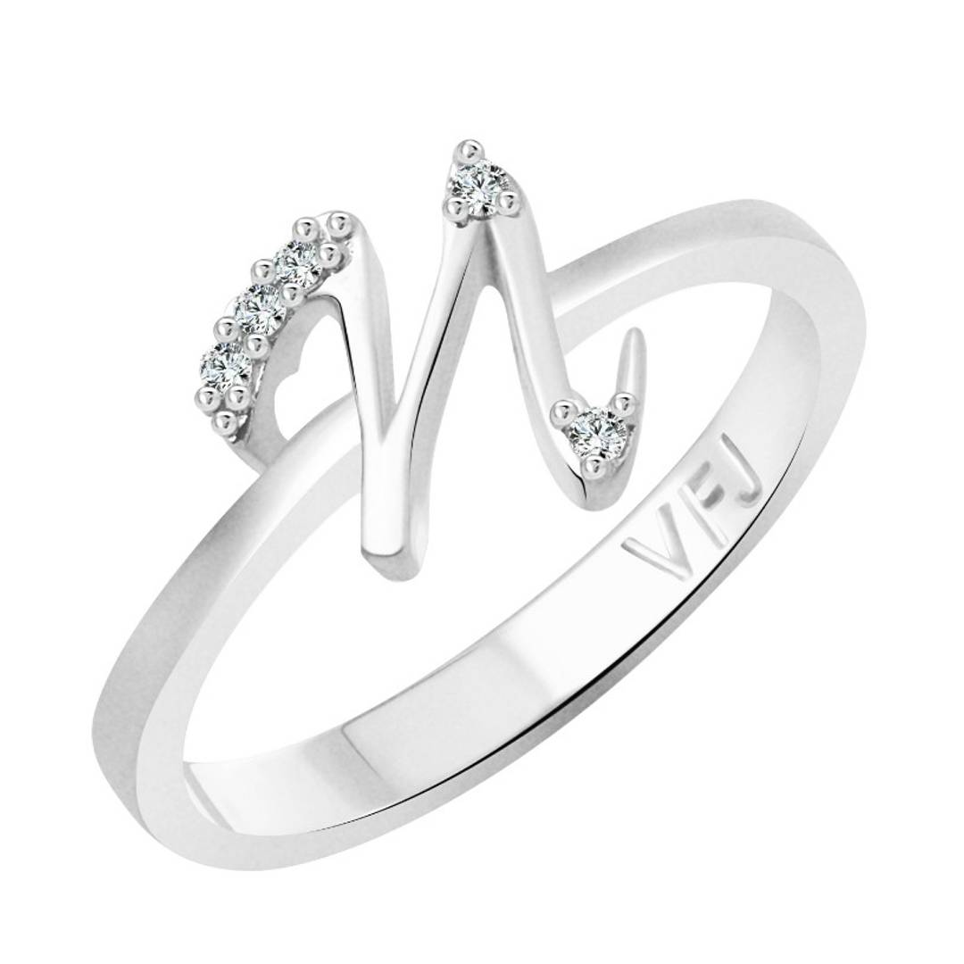 initial ''N'' Alphabet (CZ)  Rhodium Plated Alloy Ring for Women and Girls