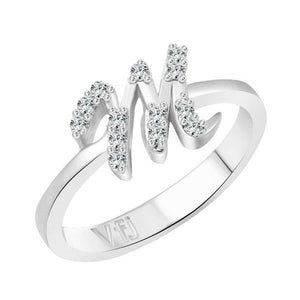 initial ''M'' Alphabet (CZ)  Rhodium Plated Alloy Ring for Women and Girls