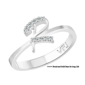 Initial ''R'' Alphabet (CZ)  Rhodium Plated Alloy Ring for Women
