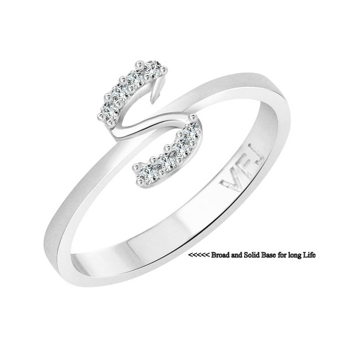 initial ''S'' Alphabet (CZ)  Rhodium Plated Alloy Ring for Women and Girls