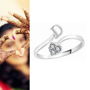 Initial 'D' Alphabet CZ Rhodium Plated Alloy Adjustable Ring for Women and Girls